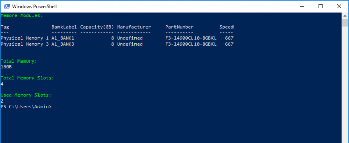 Display Memory Type Using Windows Powershell
