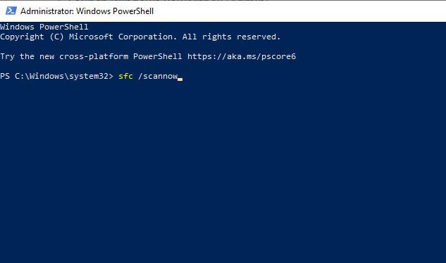 Windows Powershell sfc scan