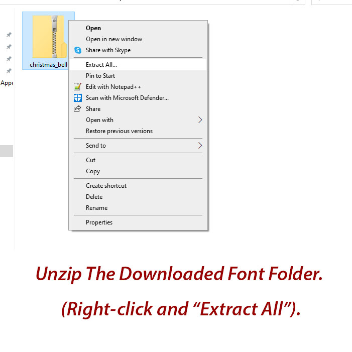Font install - how to unzip
