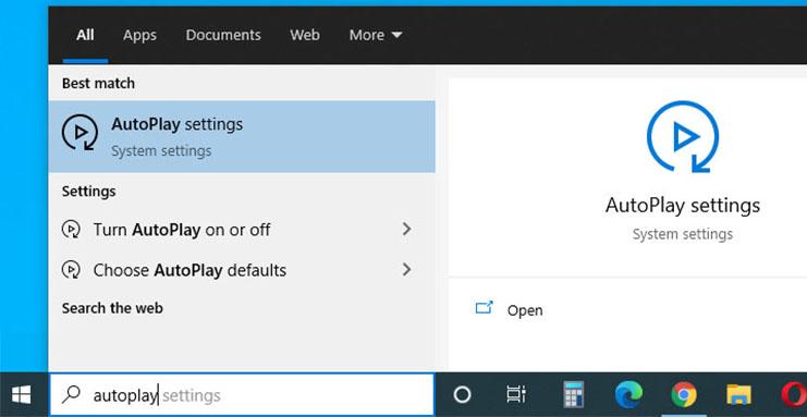 Windows 10 - change AutoPlay
