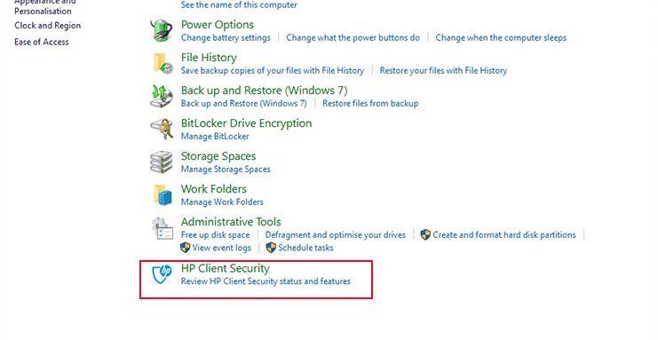HP Client Security in Windows Control Panel