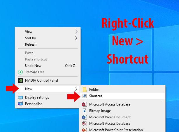 Create New Shortcut