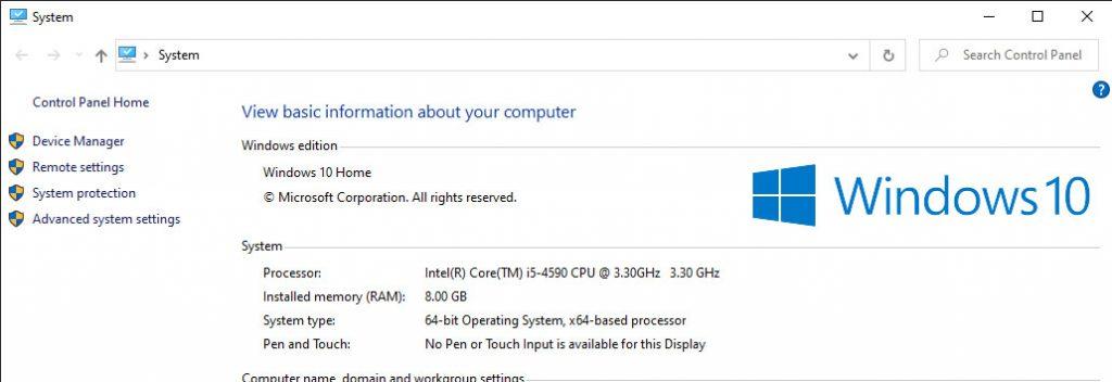 Old Windows 10 System Info window.