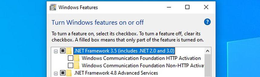 NET Framework Enable in Windows 10