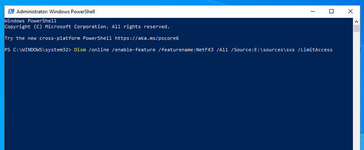 Install NET Framework with Command Prompt or Powershell