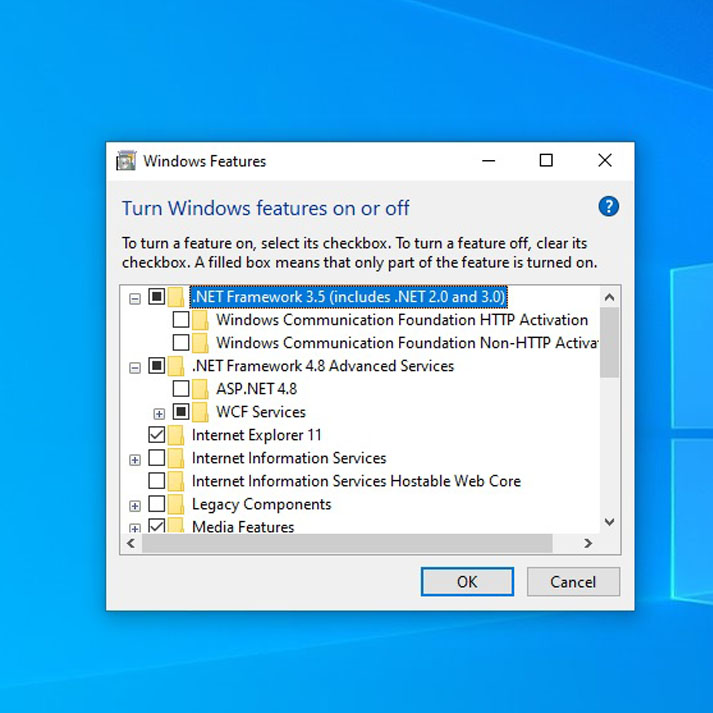 Windows Features on and off