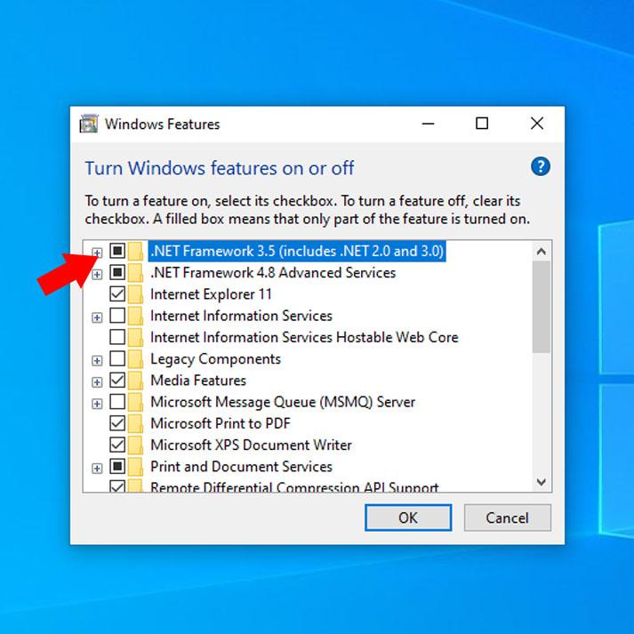Windows Features NET Framework