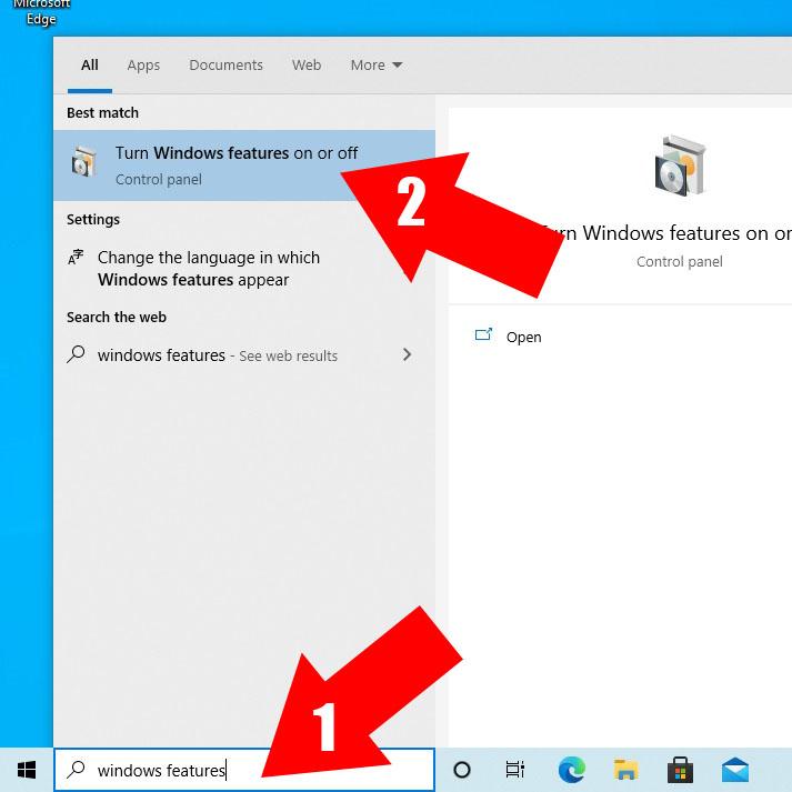 Open Windows Features