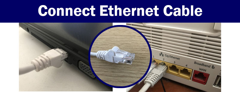 Connect LAN ethernet cable from laptop to a free port on the back of the router.